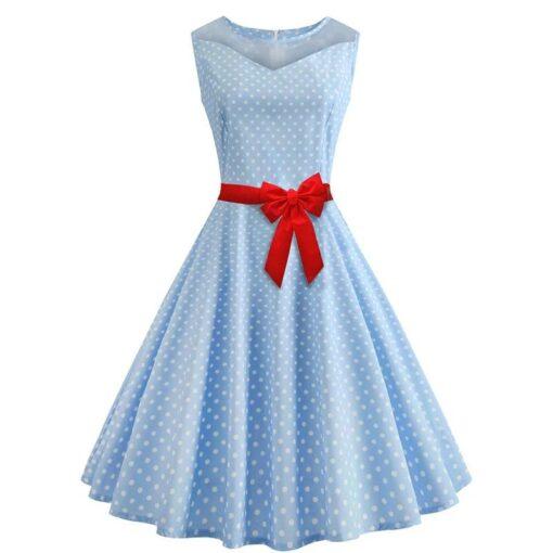 robe a pois turquoise pois blanc