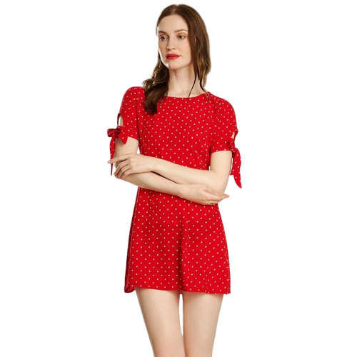 robe satin rouge a pois courte plage ete galanterie
