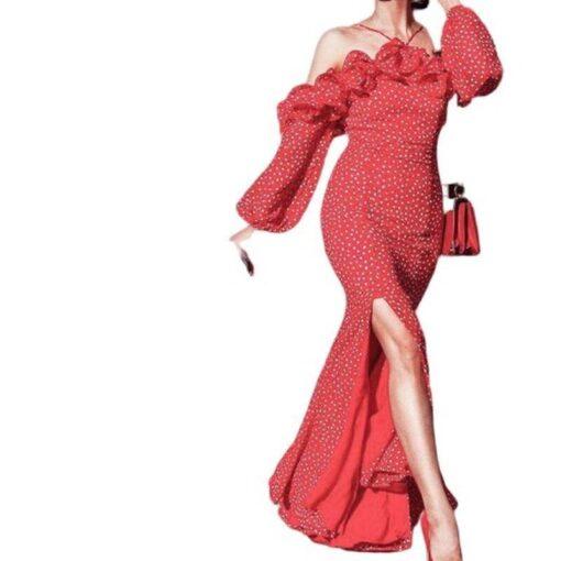 robe longue de soiree rouge