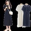 robe longue a pois annee 50 bleue a pois blanc