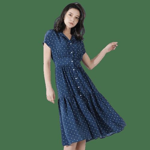 robe bleue a pois mi longue