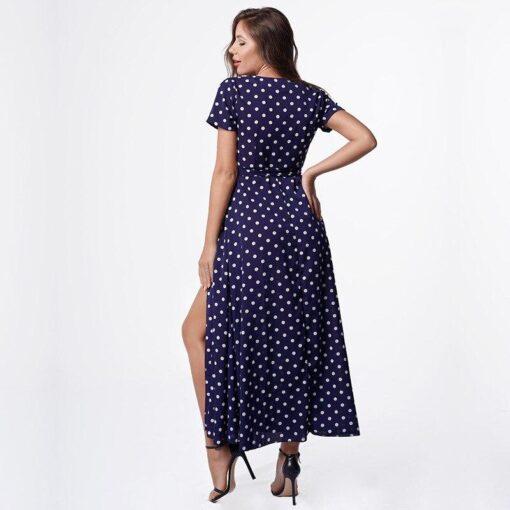 robe violette a pois blanc longue