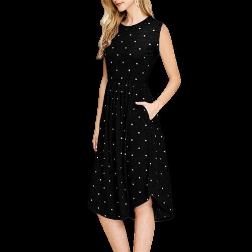 robe noire a pois femme manche courte