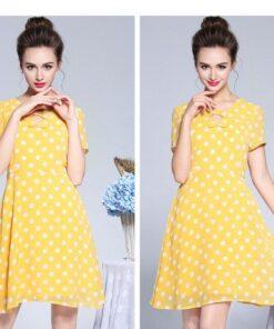 robe vintage jaune a pois