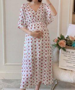 robe de grossesse lidl blanc a pois rose