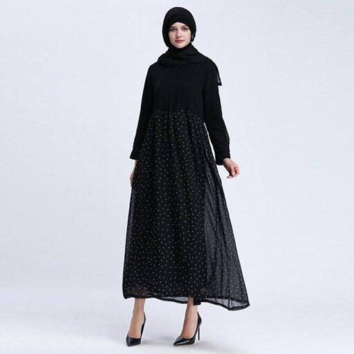 robe longue a pois noire