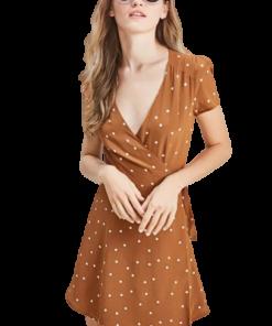 robe a pois manches courtes femmes joli decollete