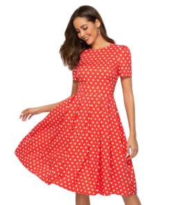 robe ete rouge femme soiree a pois