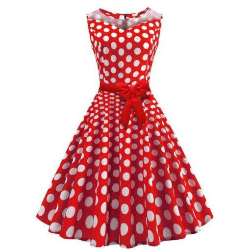robe a pois rouge rétro pois blanc
