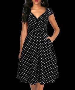 robe a pois courte bleu marine vert noir