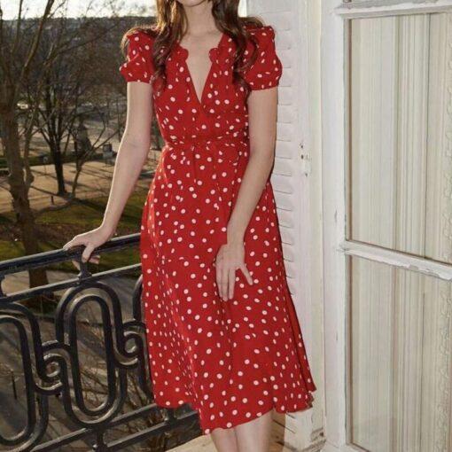 Robe à Pois##Robe à Pois Rouge Femme avec Ceinture - coccinelle-paradis