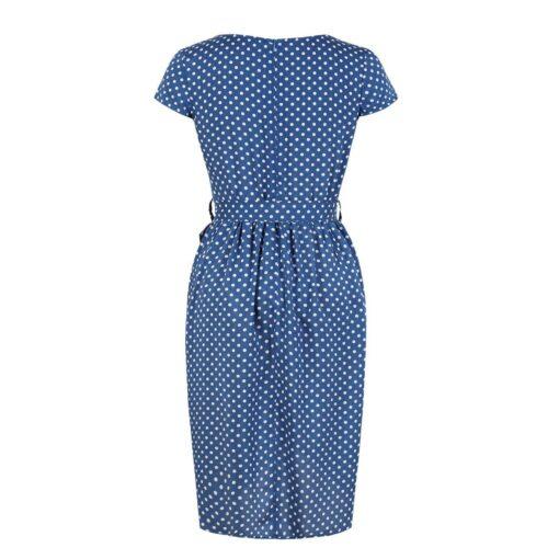 robe a pois annee 50 femme bleu