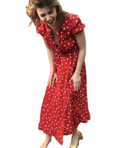 robe rouge col en v longue a pois