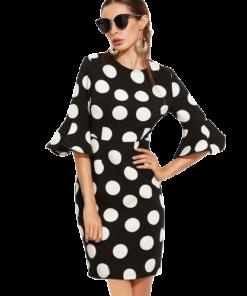 robe soiree a pois noir et blanc