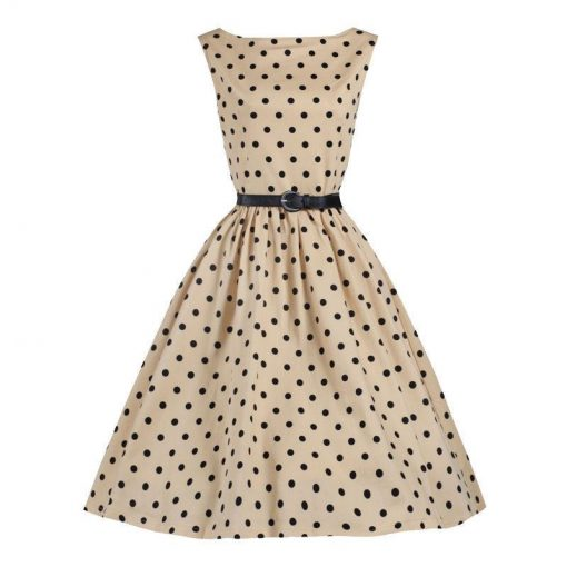 robe a pois annee 50 femmes taille party beige