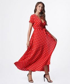 robe rouge a pois blanc longue
