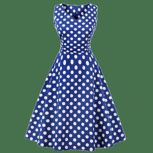 robe a pois courte ruban bleu blanc