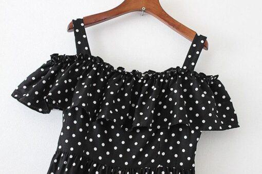 Robe à Pois##Robe à Pois Imprimer Mi-mollet Morphologies Écru - coccinelle-paradis