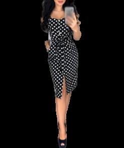 robe moulante sexy a pois courte