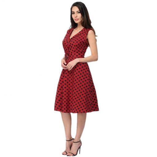 robe rouge a pois noir profil