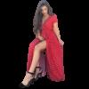 robe longue sirene rouge soiree a pois