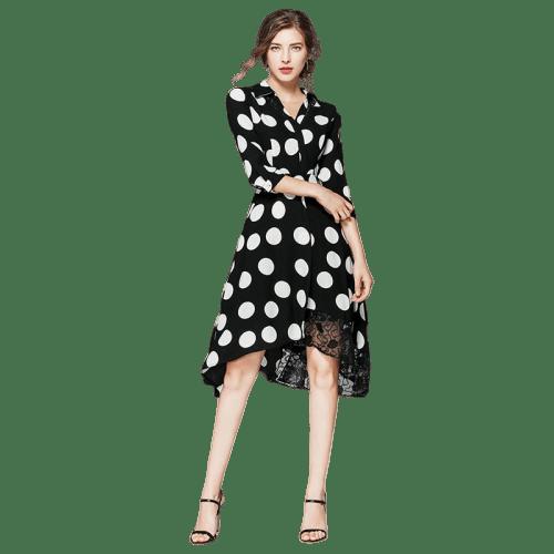 robe asymetrque courte devant longue derriere a pois