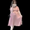 robe grossesse rose a pois blanc