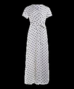 robe soiree longue blanche a pois