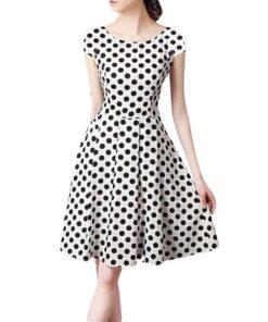 robe a pois blanche courte retro femmes vacances