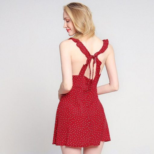 robe blanche et rouge a pois