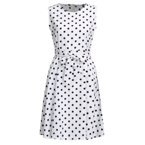 bon prix femme robe blanc noir a pois