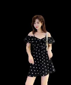 robe noir bretelle fine soiree a pois