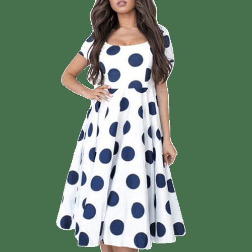 robe a pois bleu marine et blanc courte