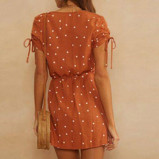 robe retro marron a pois blanc