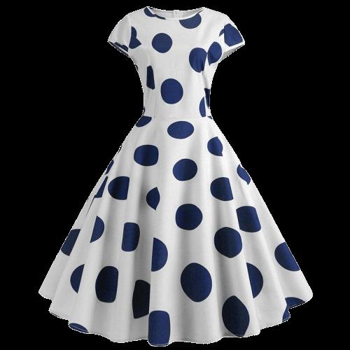 robe a gros pois bleu annee 50