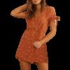 robe couleur or femme a pois courte elegantes