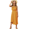 robe longue a pois cocktail jaune