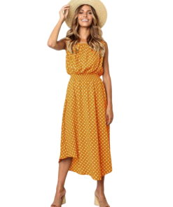 robe longue a pois cocktail jaune