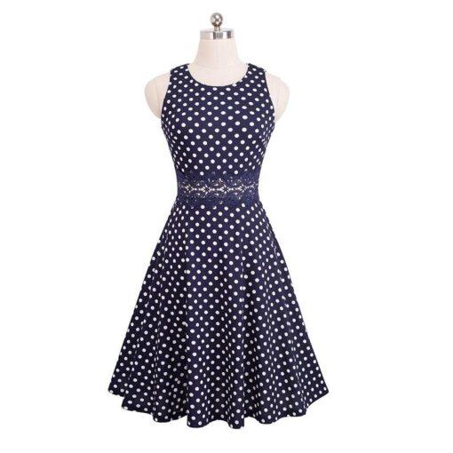 petite robe bleu a pois blanc