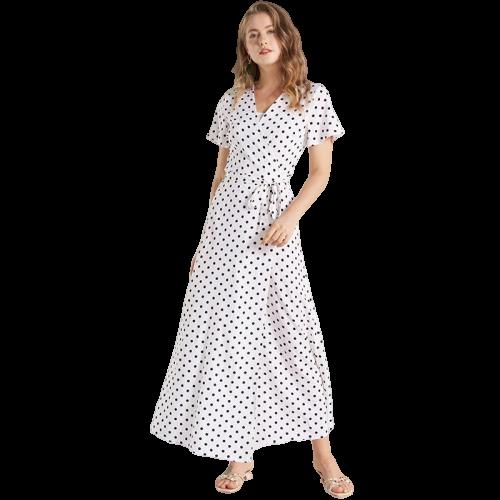 robe longue a pois parapluie blanc