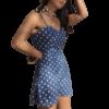 robe a pois courte pochette bleue plisse