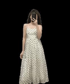 robe blanche droite a zip longue a pois