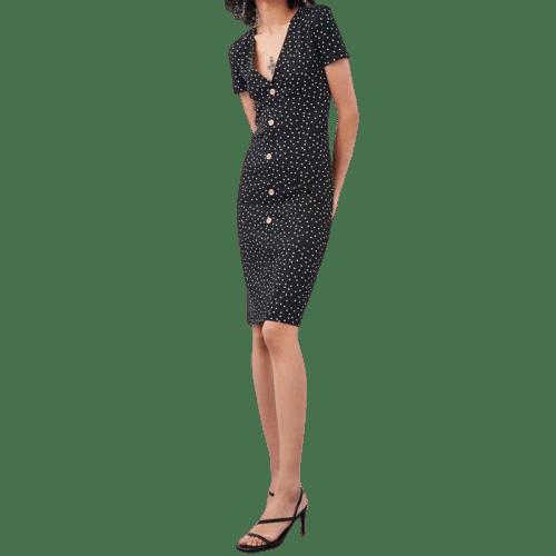 robe courte avec bouton devant soiree a pois