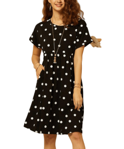 robe a pois courte noire