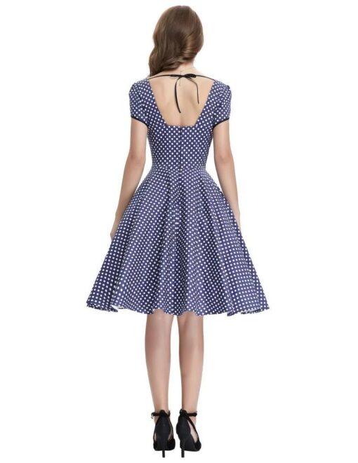 robe vintage bleu a pois blanc