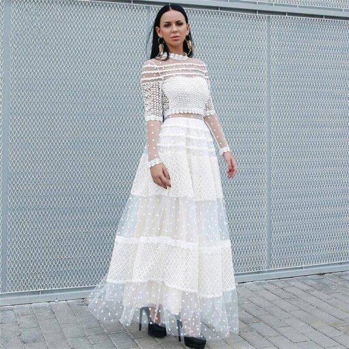 long dentelle robe de soiree
