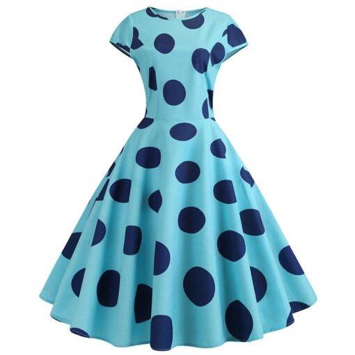 robe à gros pois bleu