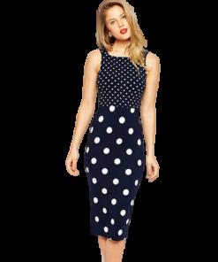 robe soiree bleu a pois blanc