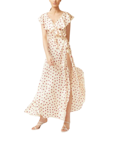 robe fille a manches longues rose blanc a pois