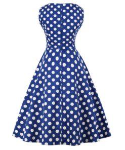 robe bleu marine a pois blanc